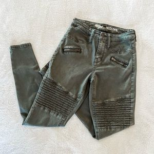 Mossimo Army Green Moto Jeggings